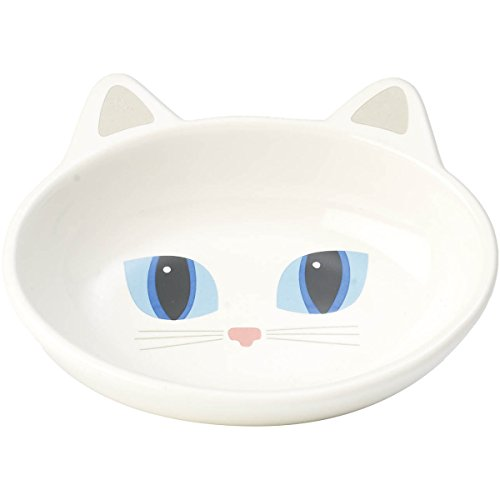 (PetRageous Oval Frisky Kitty Pet Bowl, 5.5-Inch, White)