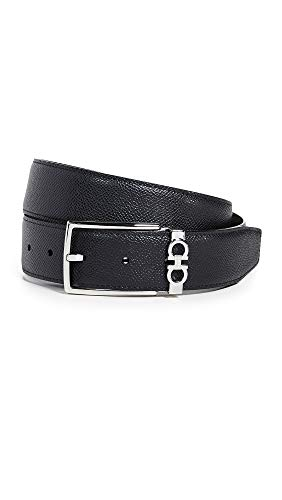 Salvatore Ferragamo Men's Gancio Reversible Belt, Black/Brown, 40