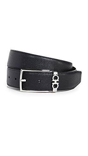 (Salvatore Ferragamo Men's Gancio Reversible Belt, Black/Brown, 40)