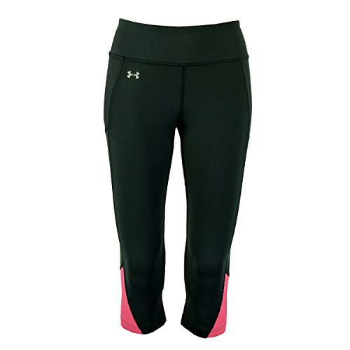 Under Armour Women's Fly-by Run Capri, Black (003)/Reflective, Medium (Bottom Under Pant Side Armour)