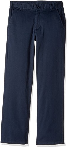 Cotton Twill Flat Front Pants (Nautica Little Boys' Flat Front Twill Stretch Pant, Navy, 6)