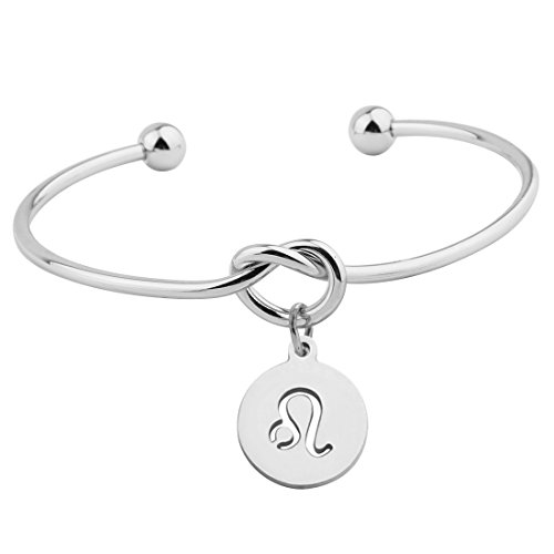 Silver Love Knot Bracelet Tie the Knot Cuff Bangle with Zodiac Signs Disc Charm ()
