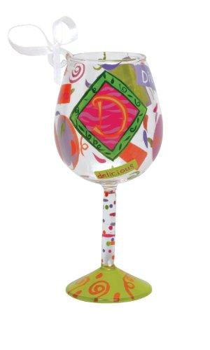 Santa Barbara Design Studio Lolita Hand Painted Mini Wine Ornament, Letter D (Lolita Wine Glass Ornament)