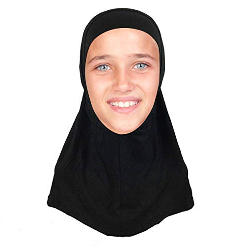 (Kids Hijab Scarf for Girls Two-Piece Amira School Uniform Stretch Jersey Modal Child Size Hijabs-with Tube Underscarf Cap Black)