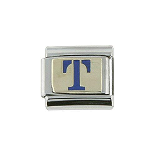 Stainless Steel 18k Gold Italian Charm Initial Letter T for Italian Charm Bracelets Blue Enamel
