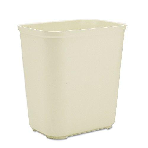 Rubbermaid 254300BG Fire-Resistant Wastebasket, Rectangular, Fiberglass, 7gal, Beige