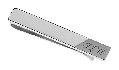 Personalized Two Tone Satin Tie Clip Engraved Free