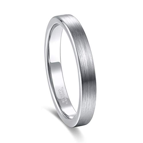 3mm Womens Mens Silver Tungsten Rings Thin Matte Finish Wedding Bands Size 9.5 ()