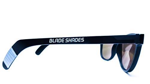 (Original Blade Shades Hockey Stick Sport Sunglasses UV Protective (Black/Grey, Red)
