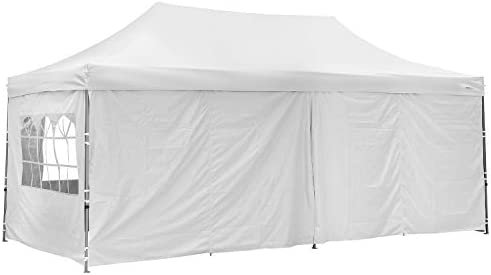 HYD-Parts Pop Up Canopy Tent 10×20 Instant Folding Shelter with 4 Sidewalls and Roller Bag for Party 10X20 White