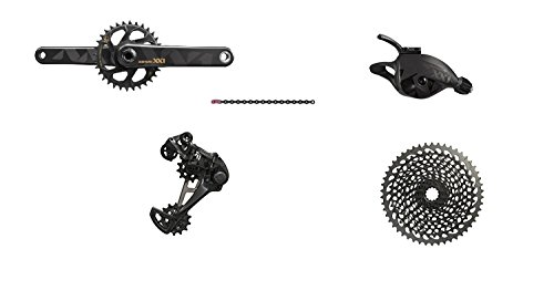 SRAM XX1 Eagle GXP Boost 175mm Groupset, Black with Black/Gold Crank by SRAM