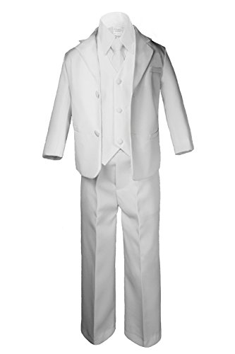 5pc Baby Boy Teen WHITE SUIT w/ Cancer Awareness Ribbon Adhesive LOVE HOPE Patch (2T, 5pc White suit set Only) by Unotux (Image #1)'