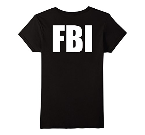Womens Fbi Costume (Women's FBI Costume Shirts! Back Print XL Black)