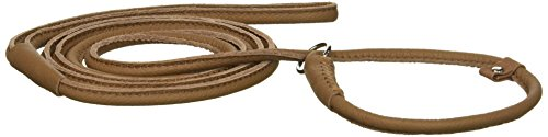 """Dogline Soft and Padded Round Leather Slip Lead for Dogs (W 1/4"""" L 72"""", Brown) from Dogline"""