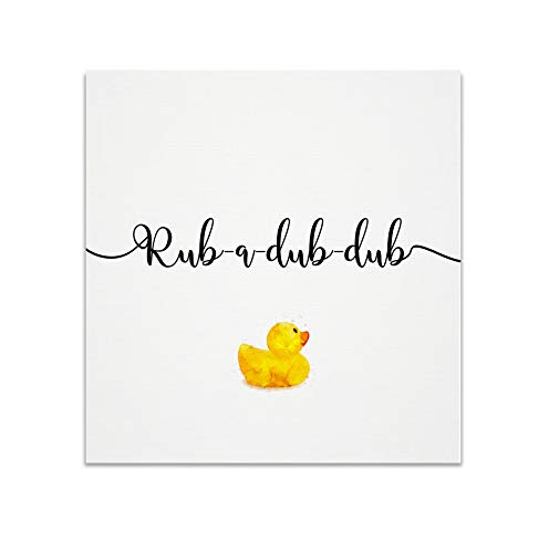Renditions Gallery Rub Dub Rubber Ducky Bathroom Décor Gallery Wrapped Canvas Wall Art, 16x16,