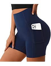 """UUE 5""""/6"""" Yoga Shorts with Pockets, High Waisted Biker Shorts for Women, Workout Running Tights Spandex Women's Shorts"""