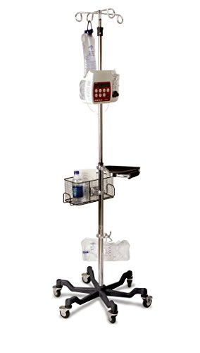 Medline MDS80600BLK Six Leg Heavy Duty IV Pole Stand, 4 Hook, Stainless Steel, Latex Free, 73'' to 99.5'' Adjustable Height, Red Base (Pack of 2) by Medline