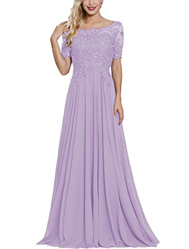 Lavender Long Lace Applique Mother of The Bride Dresses with Sleeves Petite Bateau Neck Maxi Formal Evening Dress