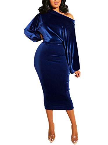 Salimdy Womens One Off Shoulder Midi Dress Long Sleeve Velvet Sexy Bodycon Party Pencil Dress Blue XL
