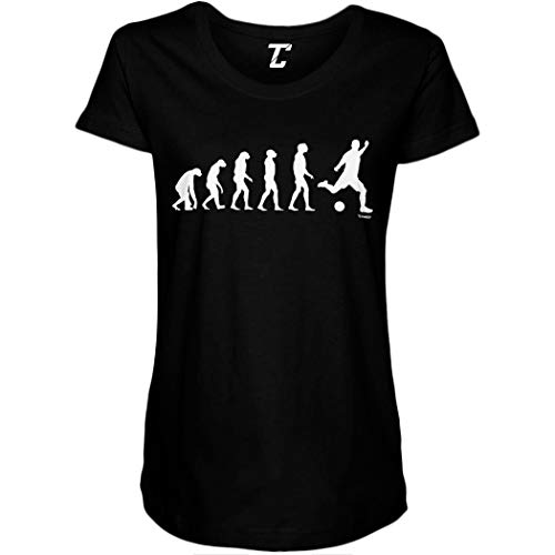 Evolution to Soccer - Futbol Sports Side Ruched Maternity T-Shirt (Black, Small)