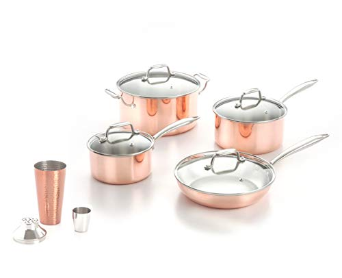 ExcelSteel 8 Piece Tri-Ply Cookware Set with Free Gift 27 oz Tone Cocktail Shaker, Copper ()