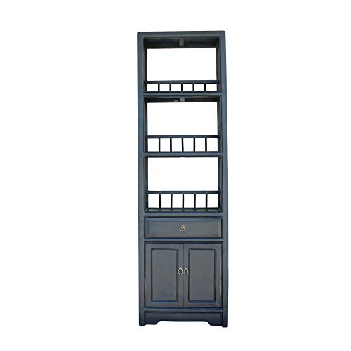 Chinese Distressed Black Small Display Bookcase Curio Cabinet Acs5084