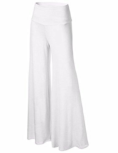 ... Jambe Classique Large Taille Blanc Femme Pantalons EMMA Coleur Solid  Haute Palazzo wOnI1qSC 6a32432b4152
