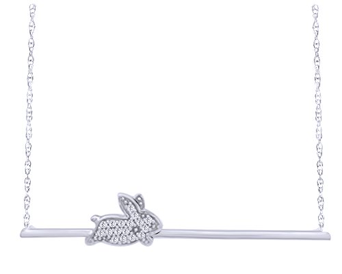 (Wishrocks Natural Diamond Accent Play Bunny Rabbit Bar Necklace in 14K White Gold Over Sterling Silver)