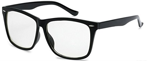 WebDeals - Retro Classic Nerd Clear Lens Wayfarer Fashion Glasses (Black, Clear) (Sexy Updo)