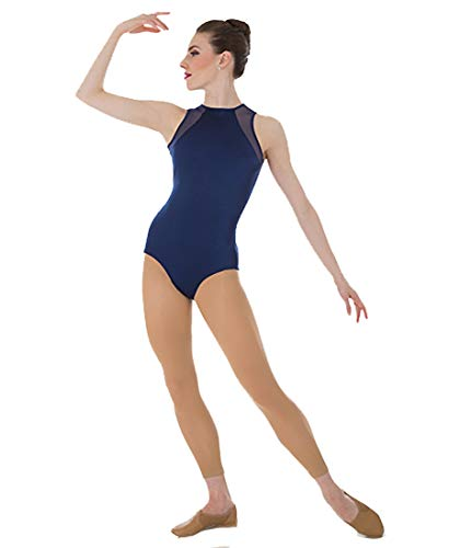 Adult Tiler Peck Power Mesh Slit Back Tank Leotard P1006BLKM Black Medium (Body Wrappers Leotard)