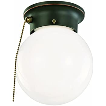 Design House 519264 1 Light Ceiling Light With Pull Chain, Oil Rubbed Bronze