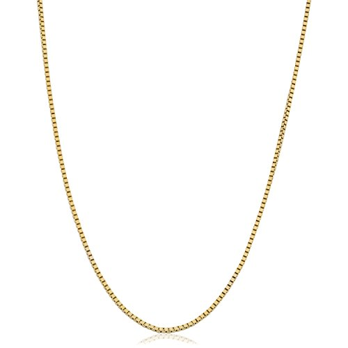 Necklace Venetian Box Gold 10k (Kooljewelry 10k Yellow Gold 0.8mm Venetian Box Chain Necklace (18