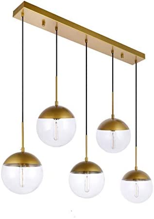 Kitchen Pendant Light with Sphere 5-Light, A1A9 Modern Industrial Glass Ball Globe Ceiling Lights Fitting, E26 LED Chandelier Lamp Fixture for Kitchen Island, Bar, Dining Room, Counter, Cafe Brass