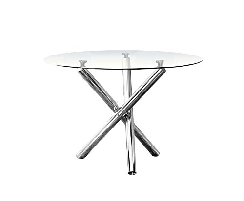 Best Master Furniture T248 Crystal 5 Pcs Round Glass Top Dinette Set 5-Piece, White