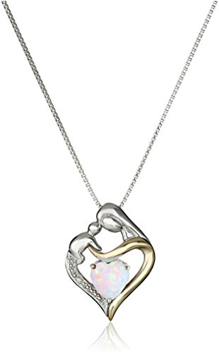 14k Opal Necklace - Sterling Silver and 14k Gold Created Opal Heart Mom Diamond Accent Pendant Necklace, 18