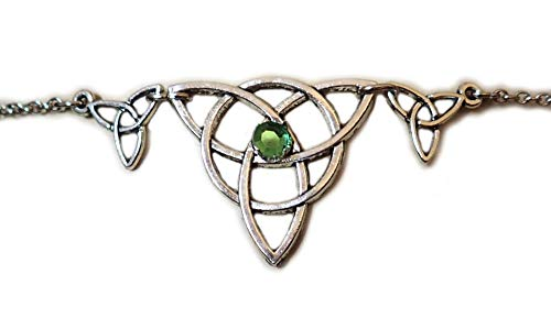 Light Green Celtic Triple Triquetra Tinity Knot Elven Elf Silver Circlet Headpiece Headdress Crown Rennaissance Medieval Halloween Costume -