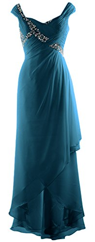 MACloth Low Bride Maxi V High Dress Mother Neck Chiffon Gown of Teal Elegant Formal rFqBwSr