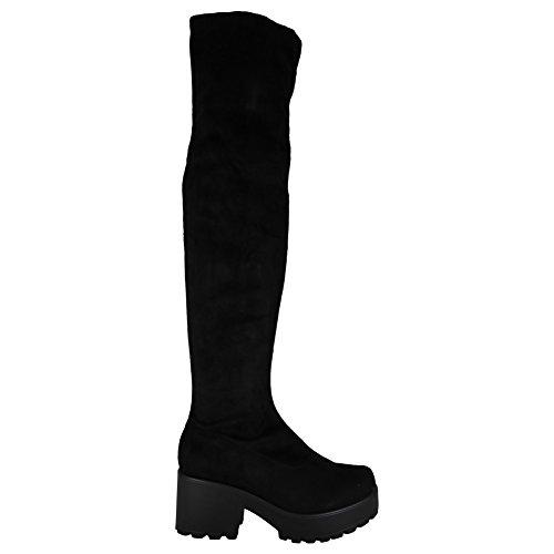 De Travail Bout Chaussures Tailles Bottes Les Genou Cloutées 3 De Rond Femme Noir Suède 8 La Nouveau Sur Faux Dames a76FWPv