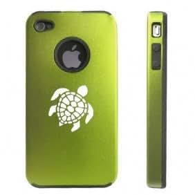 Apple iPhone 4 4S 4G Green D114 Aluminum & Silicone Case Sea Turtle