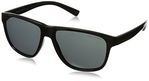 Armani Exchange Men's Injected Man Rectangular Sunglasses, Black, 58 - 58mm Sunglasses