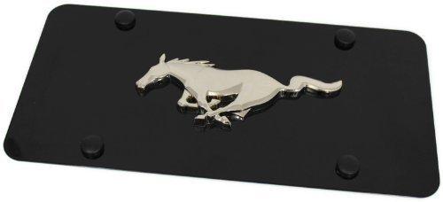 Au-Tomotive Gold, INC. Ford Mustang Emblem Logo Front License Plate Frame Black Stainless Steel Metal