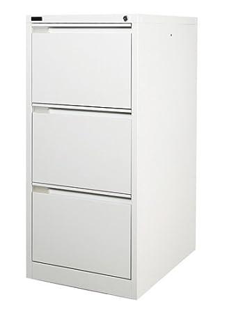 3 Drawer White Steel Filing Cabinet 62D x 47W x 101.5H (cm ...