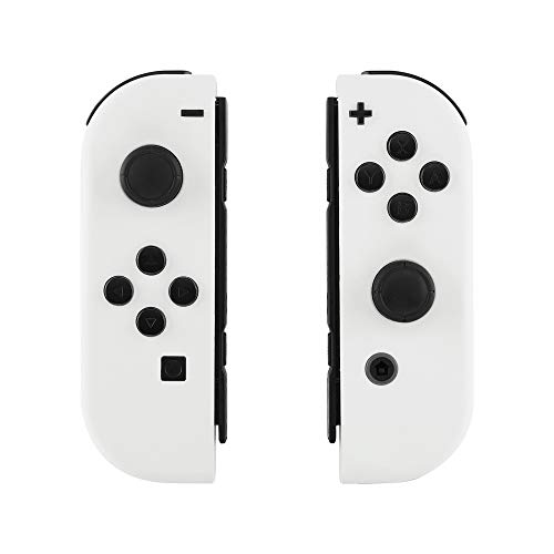 eXtremeRate Soft Touch Grip White Joycon Handheld Controller Housing with Full Set Buttons, DIY Replacement Shell Case for Nintendo Switch Joy-Con - Console Shell NOT Included