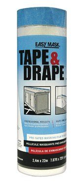 """Easy Mask Pre-Taped Drop Cloth Plastic 0.5 Mil 96 """" X 75 '"""