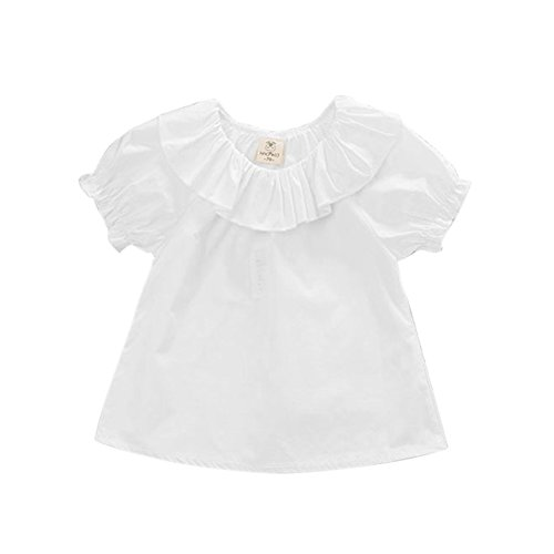 Ruffled Neck Bloomer Short Sleeve White T-shirt Tops Blouse (Short Sleeve Bloomers)