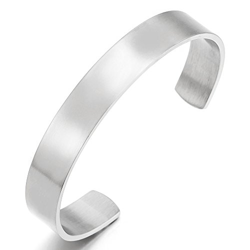 19CM Stainless Steel Adjustable Cuff Bangle Bracelet for Men Women Minimalist Satin Silver Color