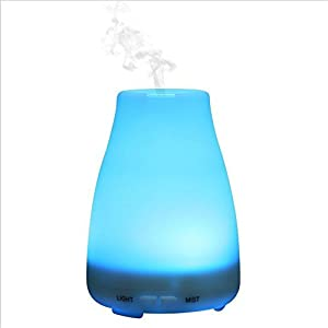 Twoworld Essential Oil Diffuser Aroma Essential Oil Cool Mist Humidifier with Adjustable Mist Mode,Waterless Auto Shut-off and 7 Color LED Lights Changing for Home Office Baby