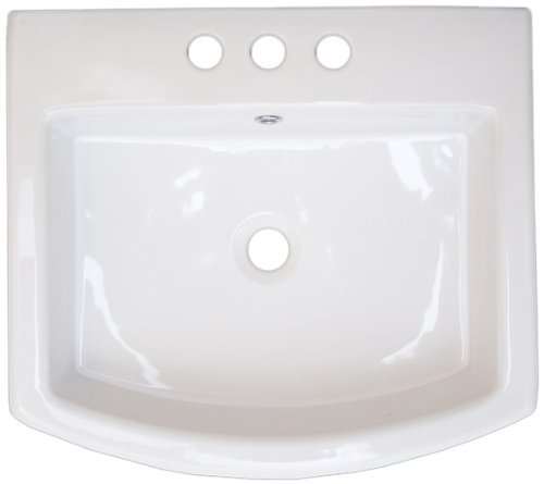 American Imaginations 436 Above Counter Rectangle White Ceramic Vessel with 8-Inch Centers by American Imaginations