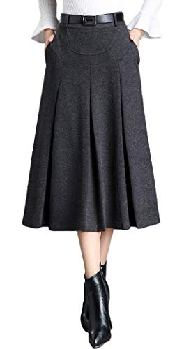 Itemnew Womens Elegant High-Waist A-Line Pleated Midi Woolen Skirt with Pockets (Small, Dark Grey) -