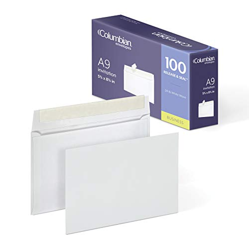 Columbian Invitation Envelopes, A9, Grip-Seal, 5-3/4 x 8-3/4 Inch, White, 100 Per Box (CO468) ()